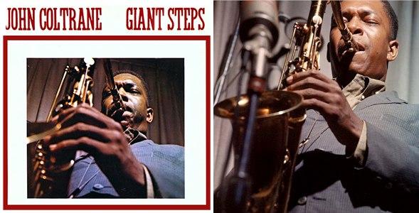 Джон Колтрейн: обложка альбома «Giant Steps» и фото из той же сессии, сделанной в студии Atlantic в 1959 г. (photo © Lee Friedlander)