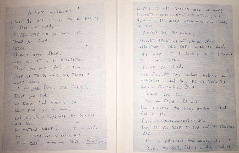 Рукопись одноимённой c альбомом поэмы Джона Колтрейна, стоявшая перед Колтрейном вместо нот при записи «Псалма»