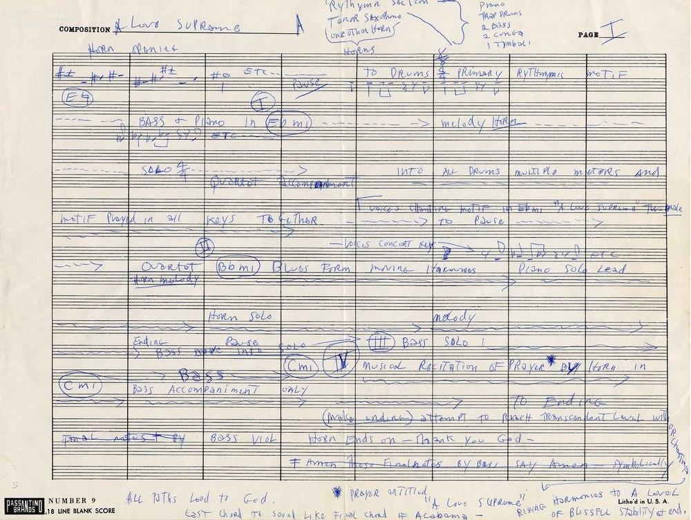 Партитура или, точнее, блок-схема сюиты «A Love Supreme», написанная рукой Джона Колтрейна
