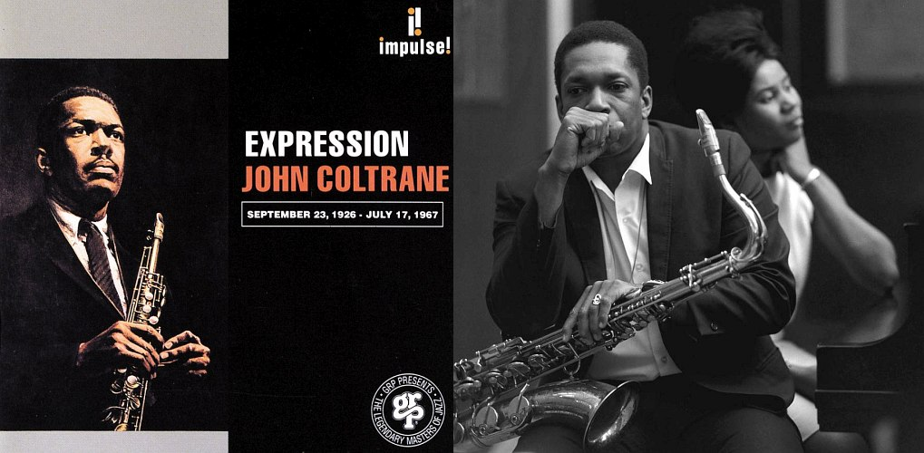 Обложка альбома «Expression» (1967), вышедшего уже после смерти артиста, и Джон Колтрейн в студии Руди Ван Гелдера в Инглвуд-Клиффс, штат Нью-Джерси, вместе с Элис Колтрейн (photo © Chuk Stewart, 1966)