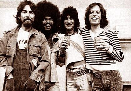 Звёзды рока и Престон: Джордж Харрисон (The Beatles), Билли Престон, Ронни Вуд (Faces), Мик Джаггер (Rolling Stones)