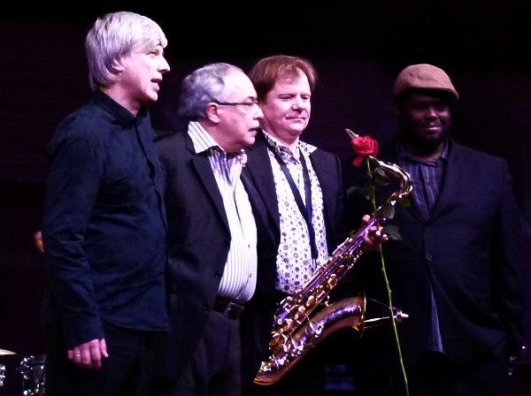 Andrei Kondakov, Eddie Gomez, Igor Butman, and Jonathan Blake at the Triumph of Jazz Festival in Moscow, Russia (2011, photo © Cyril Moshkow, Jazz.Ru Magazine)