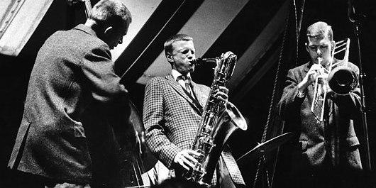 Bill Crow (bass), Gerry Mulligan (baritone sax), Bob Brookmeyer (valve trombone), 1956