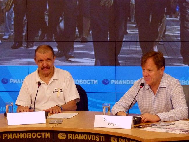 Николай Левиновский и Игорь Бутман на пресс-конференции в РИА