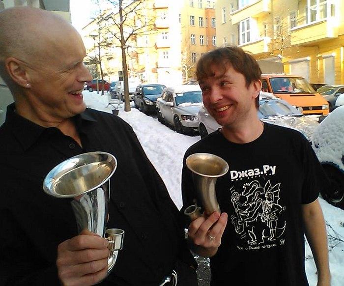Гебхард Ульман и Алексей Круглов в Берлине, декабрь 2014 (фото: Людмила Белова)