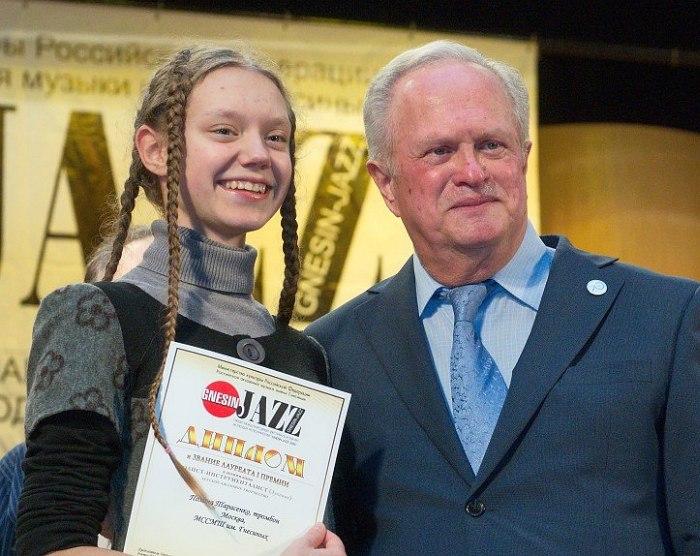Тромбонистка Полина Тарасенко и Анатолий Кролл (фото: Сергей Родионов)
