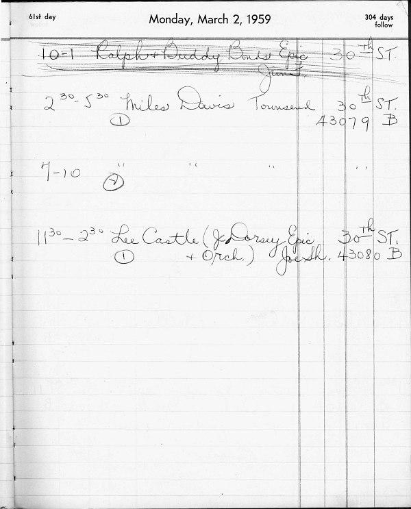 Запись в книге резервирования фирмы Columbia Records
