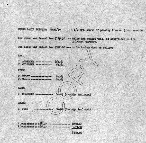 Ведомость фирмы Columbia, указывающая профсоюзные ставки музыкантов секстета Майлса за первую студийную запись.