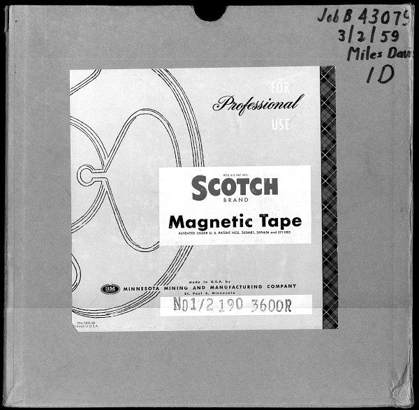Коробка с первым оригиналом записи пластинки на магнитной ленте.