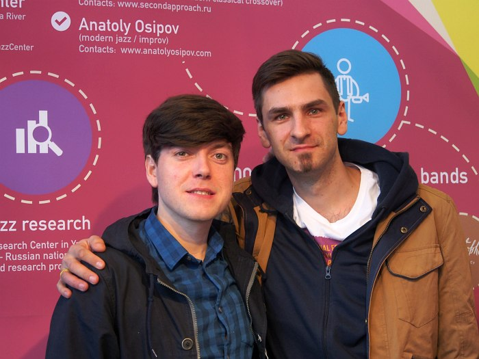Фото на память: со-экспоненты стенда - Анатолий Осипов и продюсер Олег Рубцов (фестиваль JazzMay, Пенза)