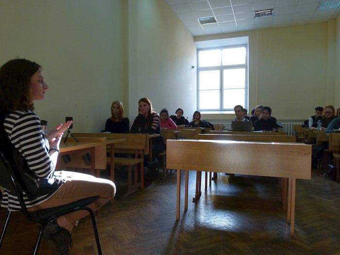 Интервью в аудитории факультета журналистики МГУ, 2014