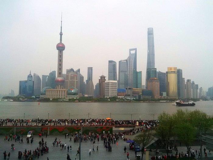 Шанхай. Вид на район небоскрёбов Пудон