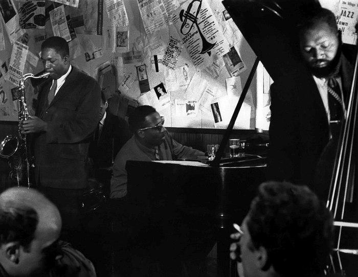John Coltrane, Shadow Wilson, Thelonious Monk, Ahmed Abdul-Malik. The Five Spot, 1957 (photo © Don Schlitten)