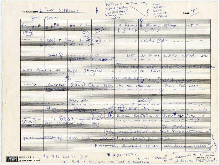Партитура (точнее, блок-схема) сюиты, написанная рукой Джона Колтрейна