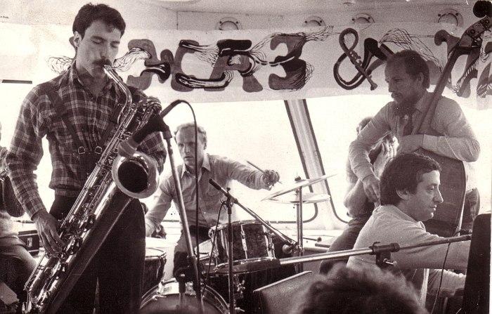 Рига, джем с участниками Rova Saxophone Quartet, 1980-е: за ударными Владимир Тарасов, справа Вячеслав Ганелин