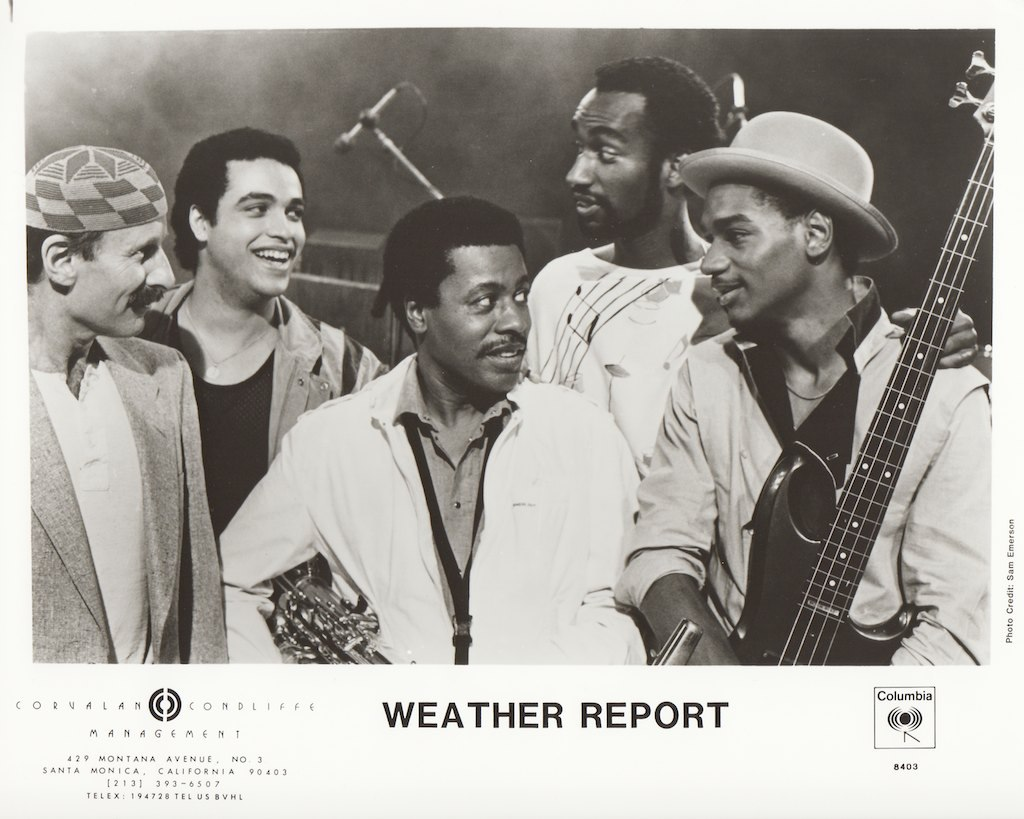 Weather Report: пресс-фото к альбому «Sportin' Life», 1985  Joe Zawinul, Mino Cinélu, Wayne Shorter, Omar Hakim, Victor Bailey. Photo  © Sam Emerson