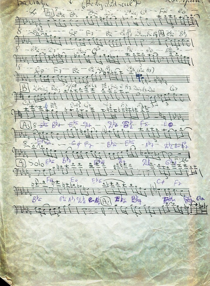 Соло на «Body and Soul». Подлинный нотный текст руки Анатолия Соболева (архив Дмитрия Зайцева)