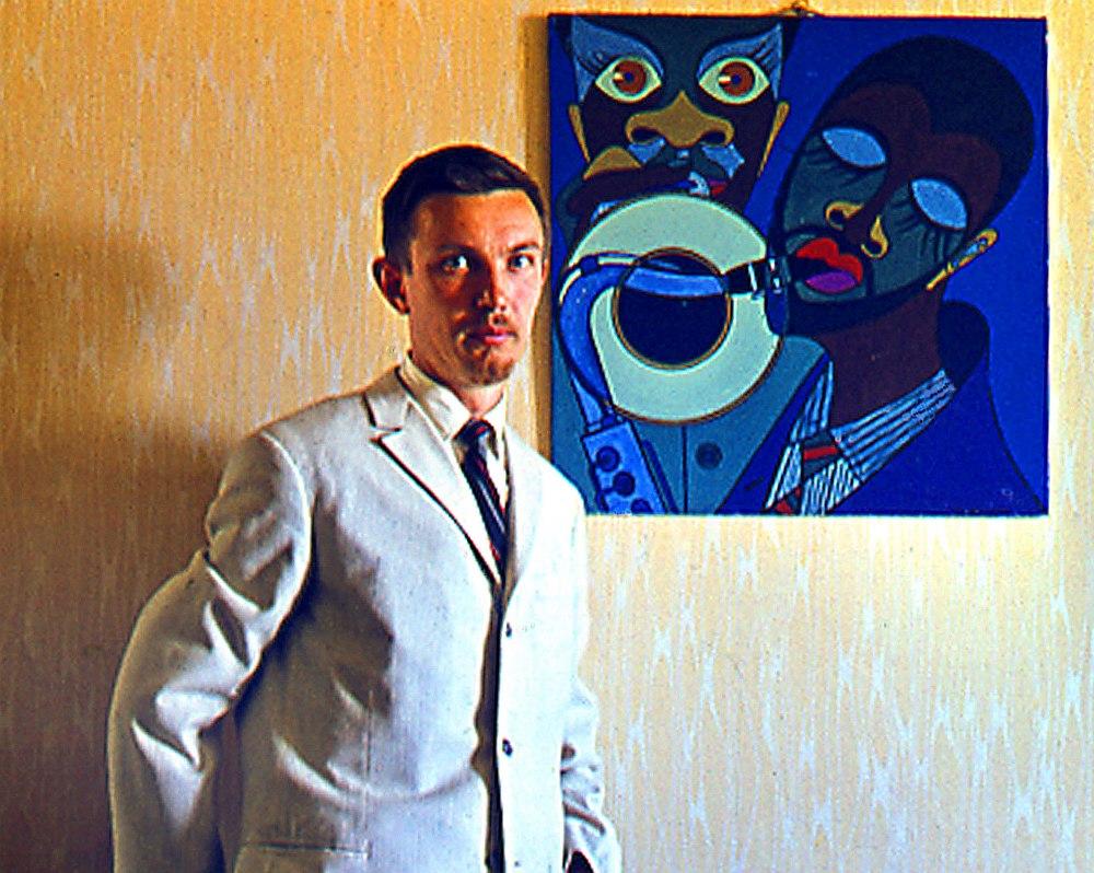 Владимир Садковкин и одна из его работ. Фото 1960-х гг.