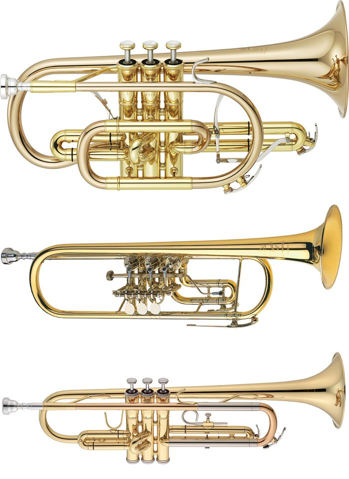 Сверху вниз: корнет, педальная труба, современная помповая труба