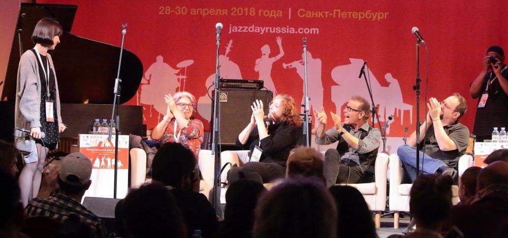 Мастер-класс Manhattan Transfer: участники легендарного квартета аплодируют российской вокалистке Виктории Кривозубовой