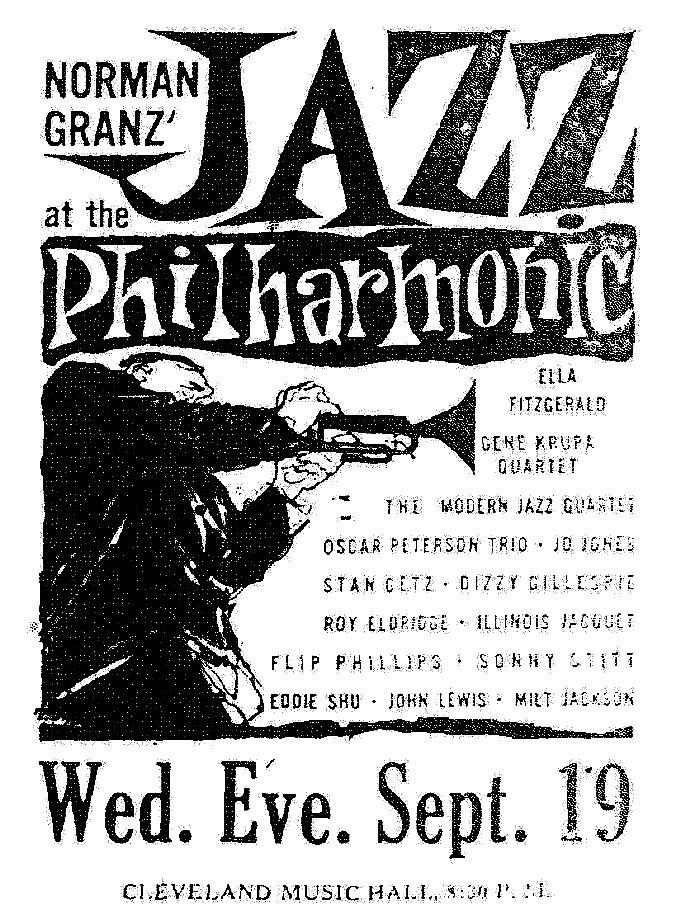 Газетная реклама концерта из цикла Jazz at the Philharmonic, 1956