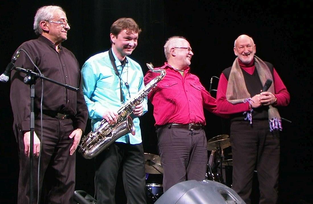 Вячеслав Ганелин, Алексей Круглов, Олег Юданов, Лео Фейгин (Москва, февраль 2012)