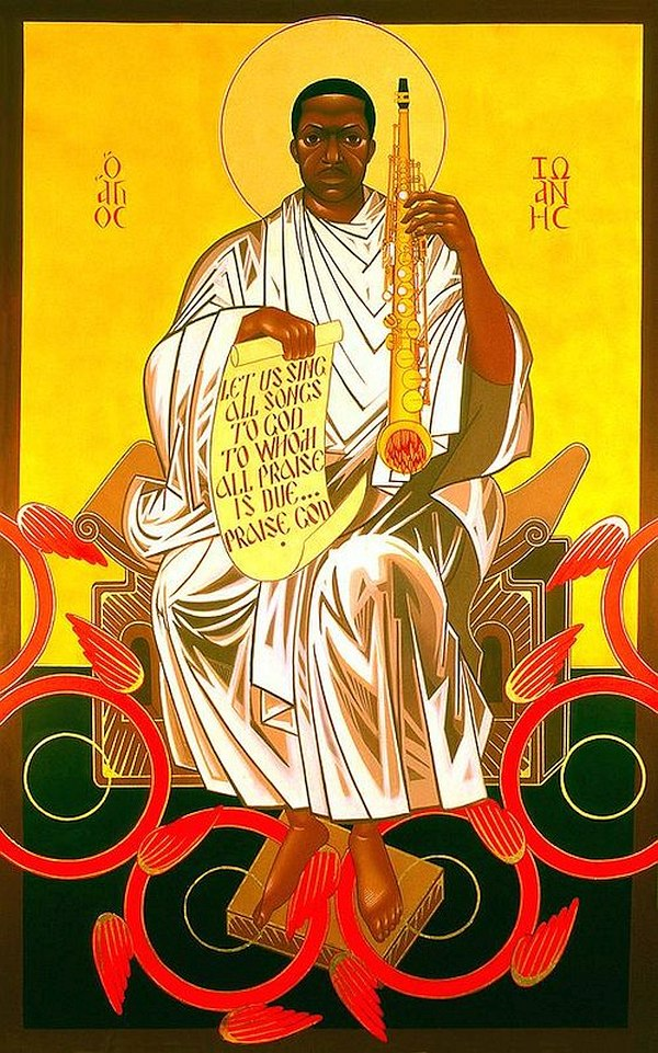 Надпись на греческом в верхнем поле иконы «Святой Иоанн Колтрейн на престоле»: о Агиос Иоаннос (святой Иоанн). На свитке в руках Колтрейна приведена цитата из его поэмы «Псалом» — «Воспоём все песни Богу, Которому вся хвала причитается... Славьте Бога» (© Mark Dukes)