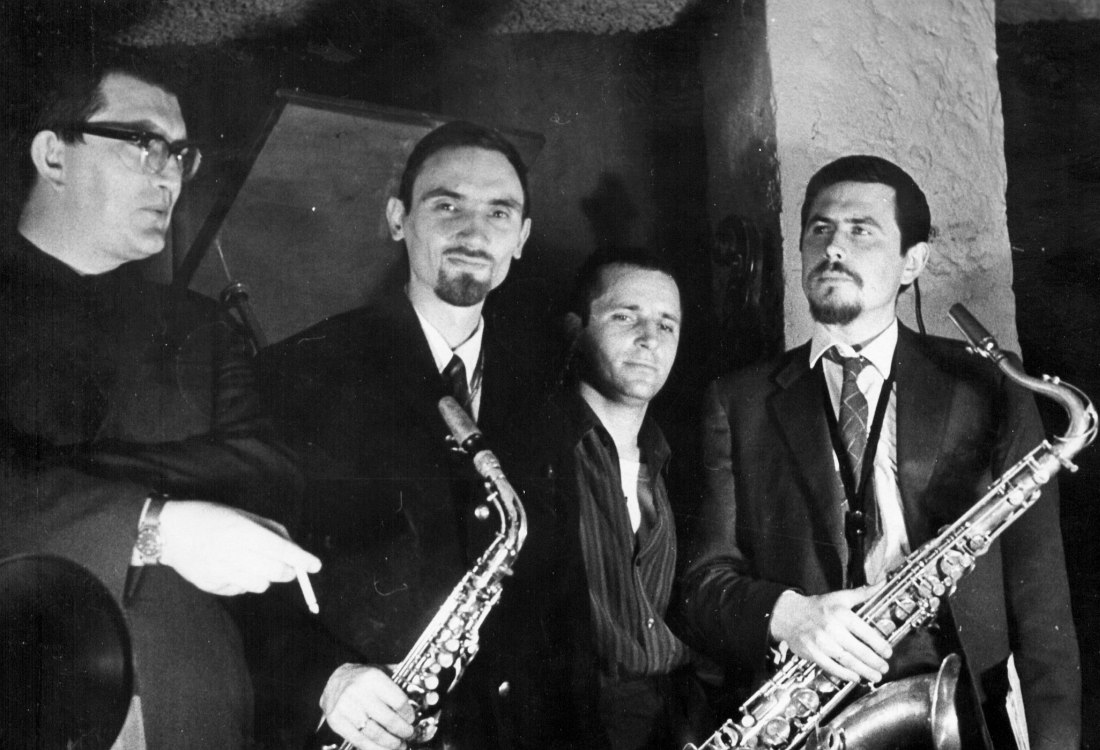 В кафе «Ритм», 1968: Юрий Маркин, Алексей Козлов, Владимир Васильков, Александр Пищиков