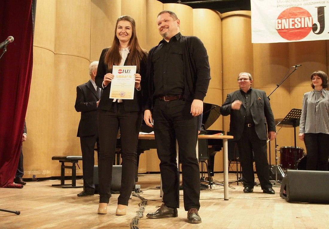 Лауреат I премии Анастасия Иванова и члены жюри: Кирилл Мошков, Давид Газаров, Кристина Крит