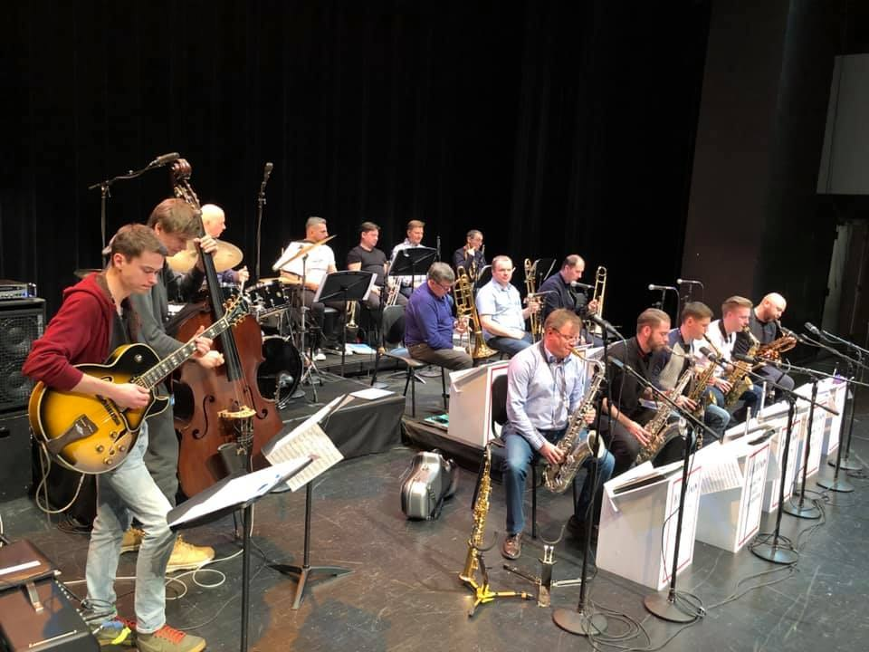 Evgeny Pobozhiy (left) with the Moscow Big Band during their soundcheck at the Xavier University Gallagher Theater, Cincinnati, OH (January, 2019)