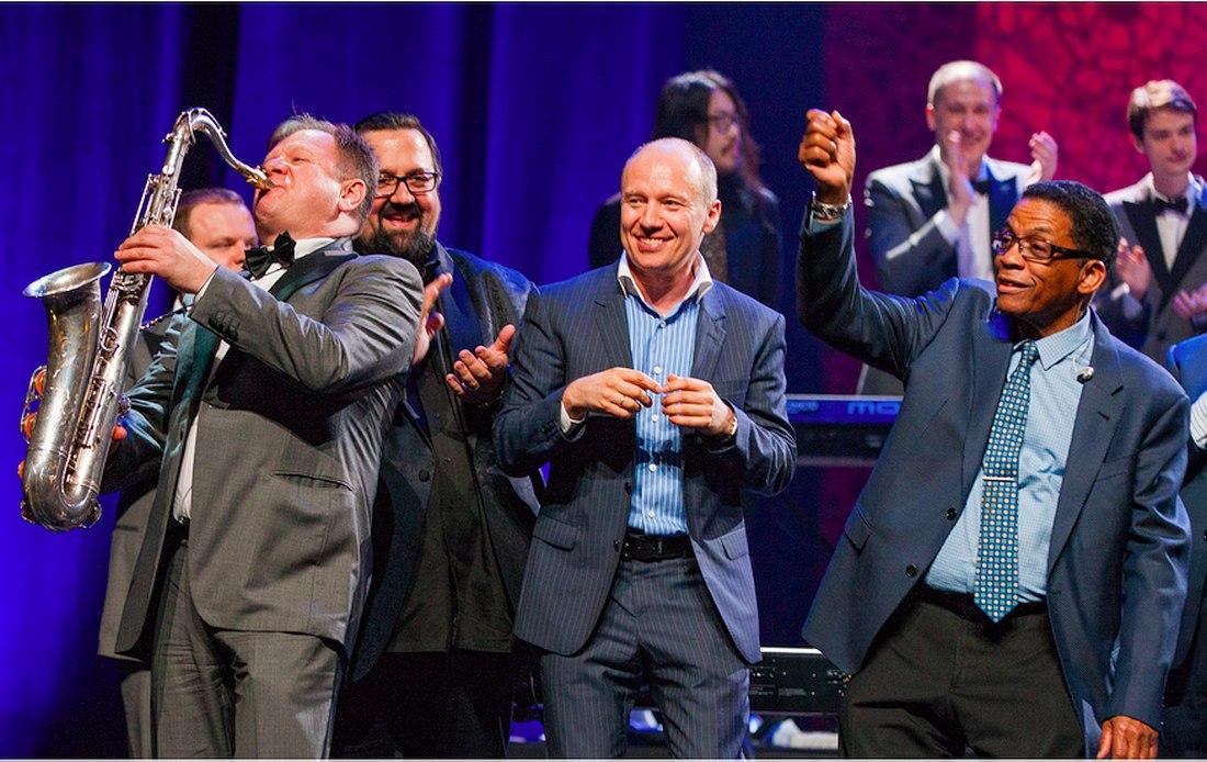 Гала-концерт Международного Дня джаза-2018: Игорь Бутман, Джоуи Де Франческо, Олег Бутман, Хёрби Хэнкок   (photo © Steve Mundinger)