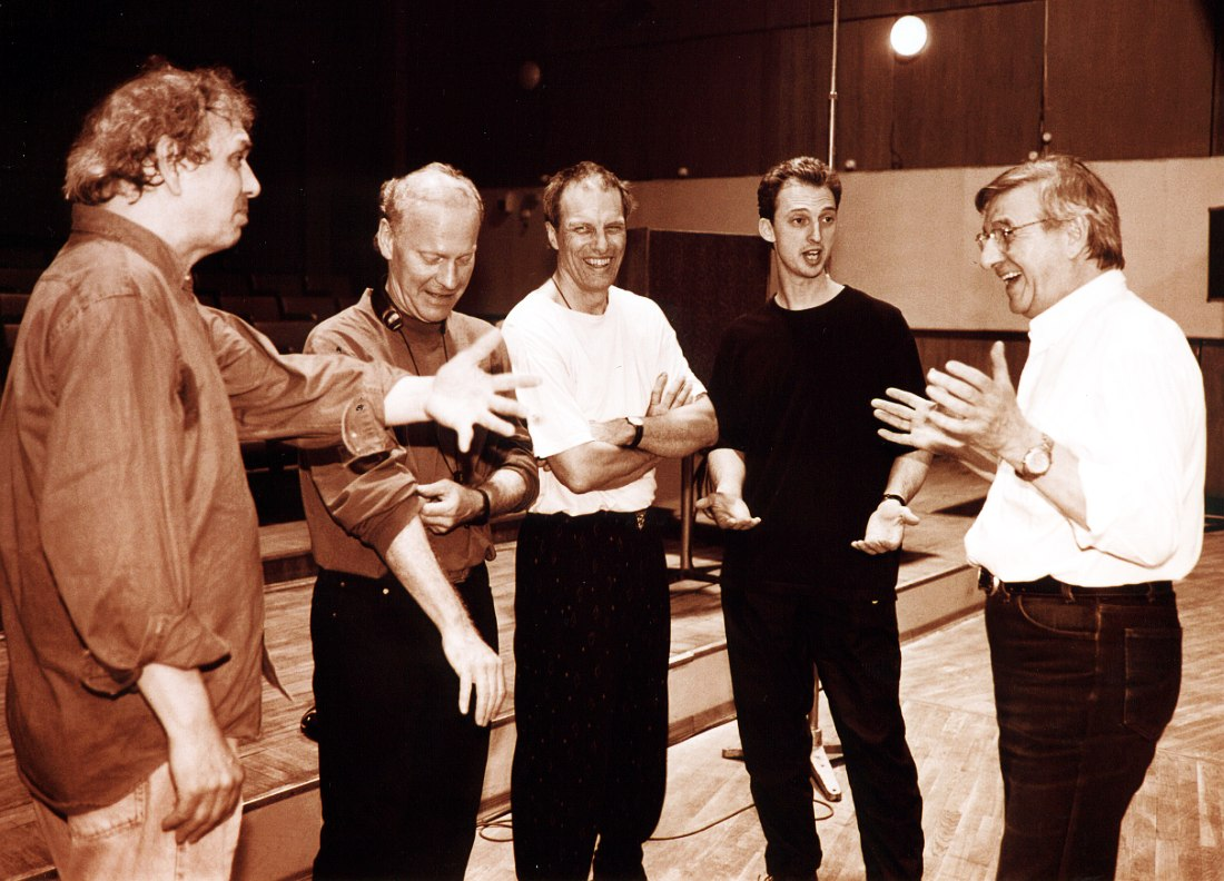 Moscow, 1999: L-R Oregon band members Ralph Towner, Paul McCandless, Glen Moore, and Mark Walker, with George Garanian after their recording date with the Tchaikovsky Symphony Orchestra (photo © Pavel Korbut)