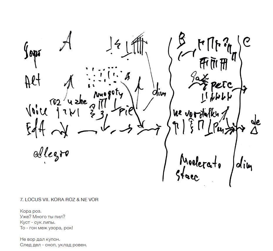 одна из графических партитур Чекасина на палиндром Круглова