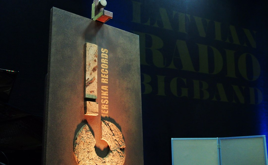 Jersika Records and Latvian Radio Big Band logos at the Spikeri recording sessions