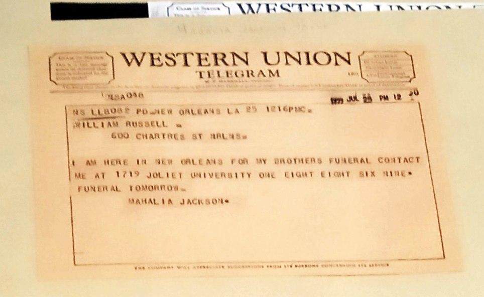 Одна из единиц хранения Коллекции: телеграмма Махалии Джексон в адрес Уильяма Расселла
