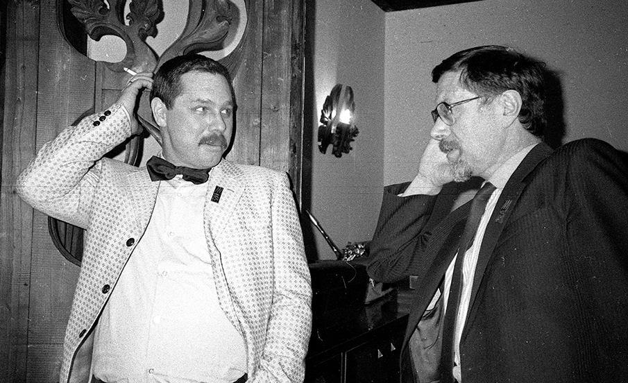 «Just Friends». В перерыве выступления в ДК «Медиков»: Александр Банных и Михаил Кулль. Фото © Александр Забрин, 1987
