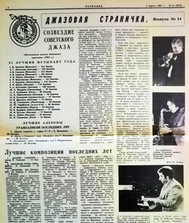 Фрагмент 14 выпуска «Джазовой странички» в газете МВТУ им. Баумана за апрель 1985