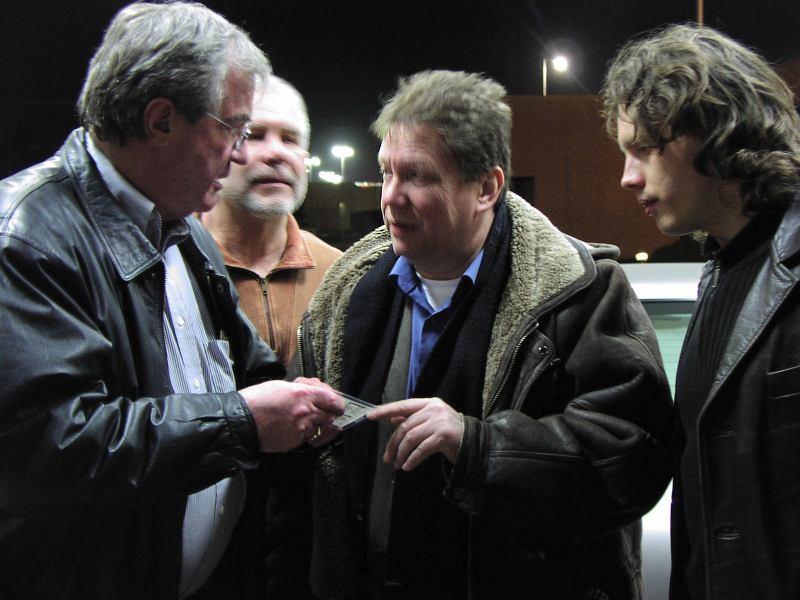 Moscow, ID, February, 2005: Doc Skinner, Leonid Vintskevich, Lembit Saarsalu, Nick Vintskevich (Cyril Moshkow, Jazz.Ru Magazine)