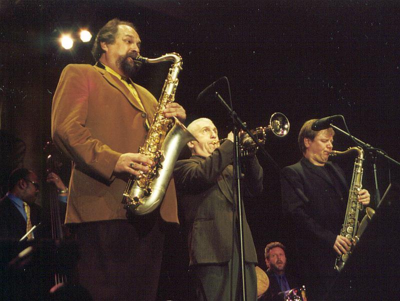 Lionel Hampton Jazz Festival, February, 2001. Joe Lovano, Valery Ponomarev, Igor Butman (Cyril Moshkow, Jazz.Ru Magazine)