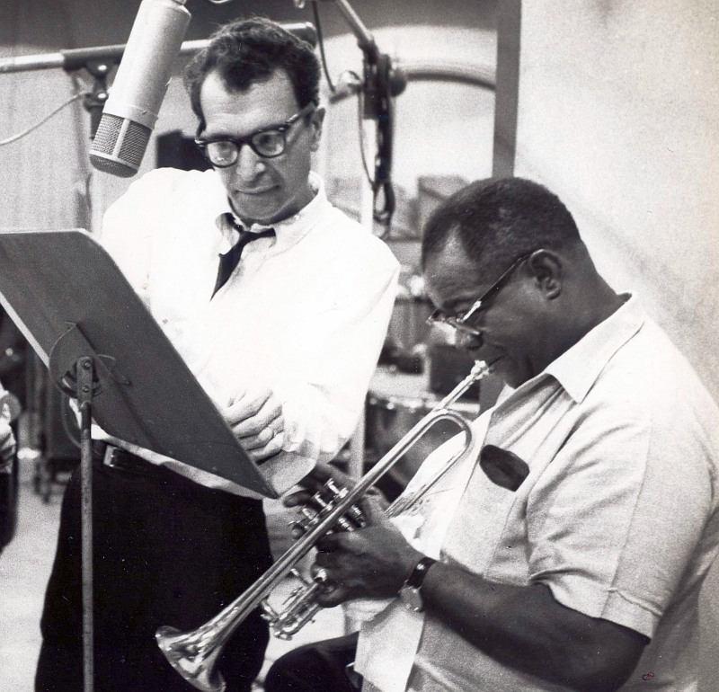 Дейв Брубек и Луи Армстронг на записи студийной версии мюзикла «The Real Ambassadors», 1962