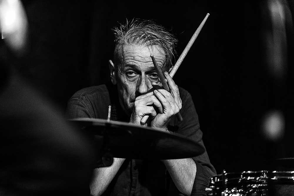 "Drummer Steve Noble, taken February 28, 2020 at the Moscow Cultural Center ""DOM"", where he performed with Alex Hawkins (B3 Hammond Organ), Evan Parker (saxophone), and John Edwards (bass). Photo © Pavel Korbut"
