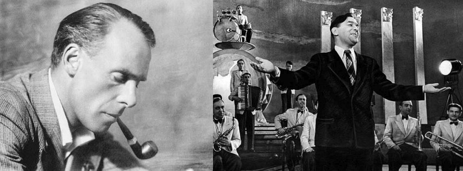 The composer. Lev Knipper, pictured in 1940, and singer Leonid Utiosov, leader of the Russian Soviet Federative Socialist Republic Jazz Orchestra, in a 1943 movie still