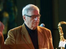 On the photo by Pavel Korbout: George Garanian conducts his Melodia Big Band in Moscow on October 22, 2009